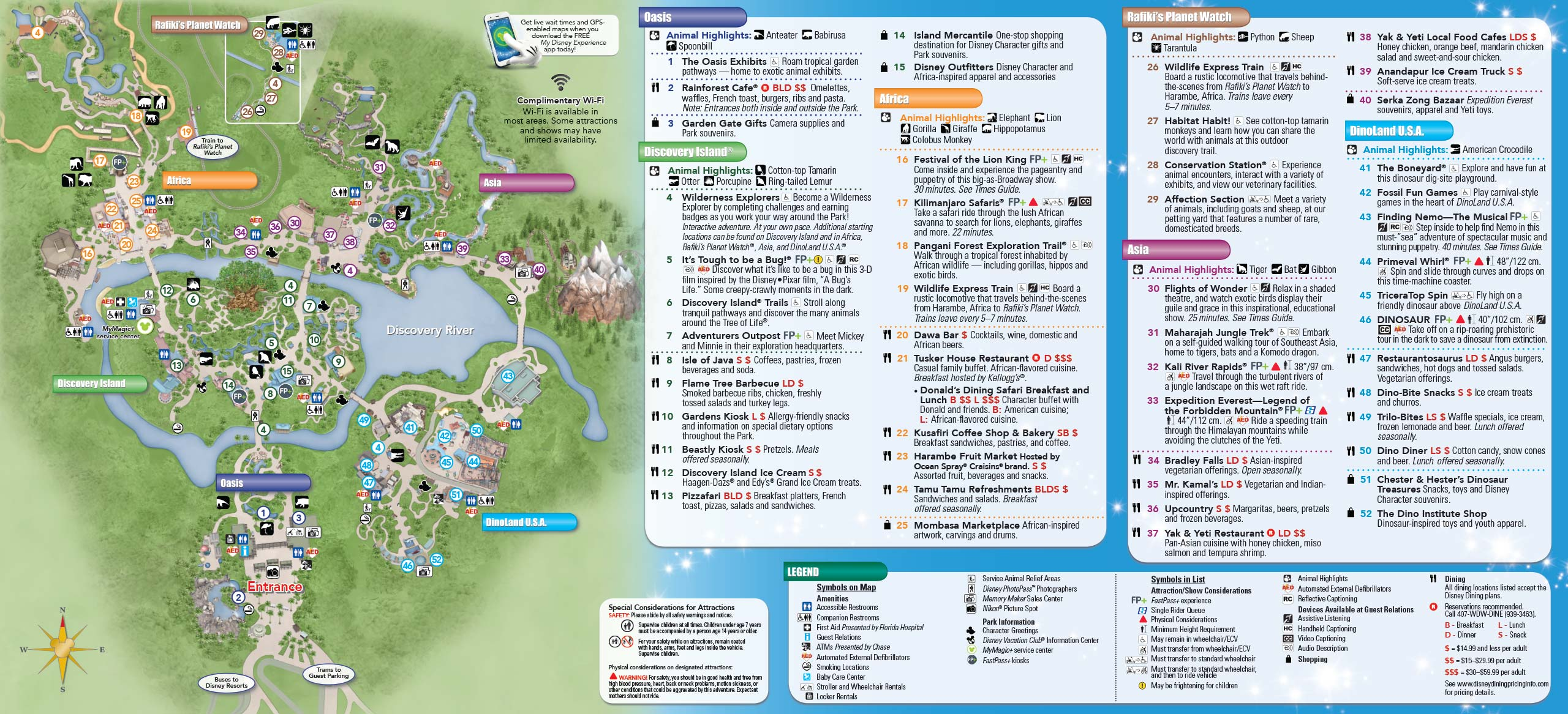 New Disney\'s Animal Kingdom Park Guide Map with Harambe Theater ...