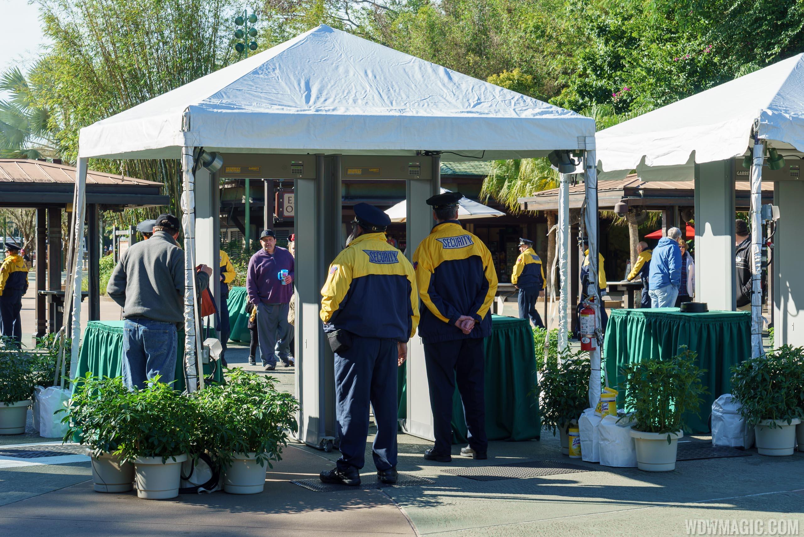Disney Security operating metal detectors at Disney's Animal Kingdom