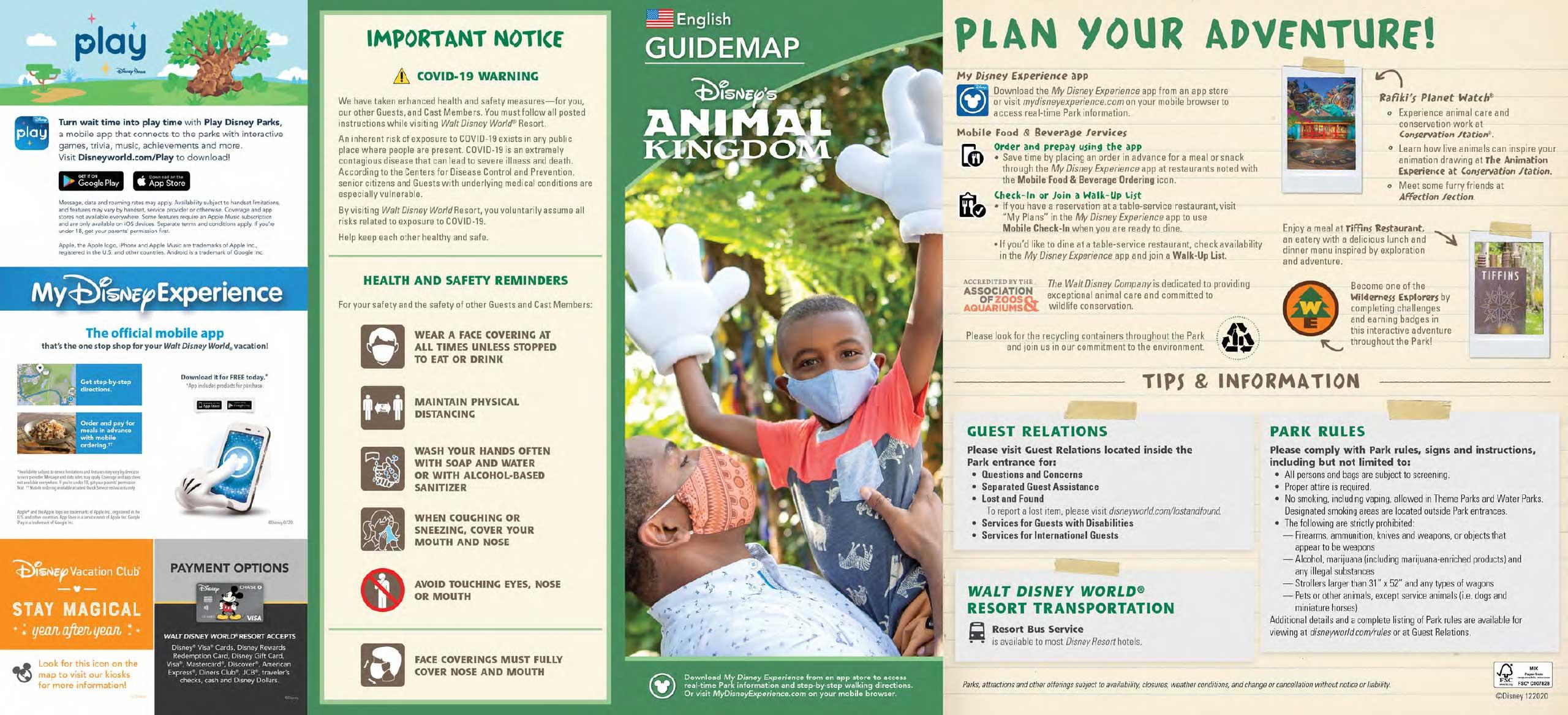 Disney's Animal Kingdom December 2020 guidemap