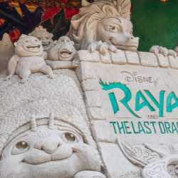Completed 'Raya and the Last Dragon' sand sculpture
