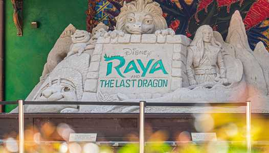 PHOTOS - A look at the completed 'Raya and the Last Dragon' sand sculpture at Disney's Animal Kingdom