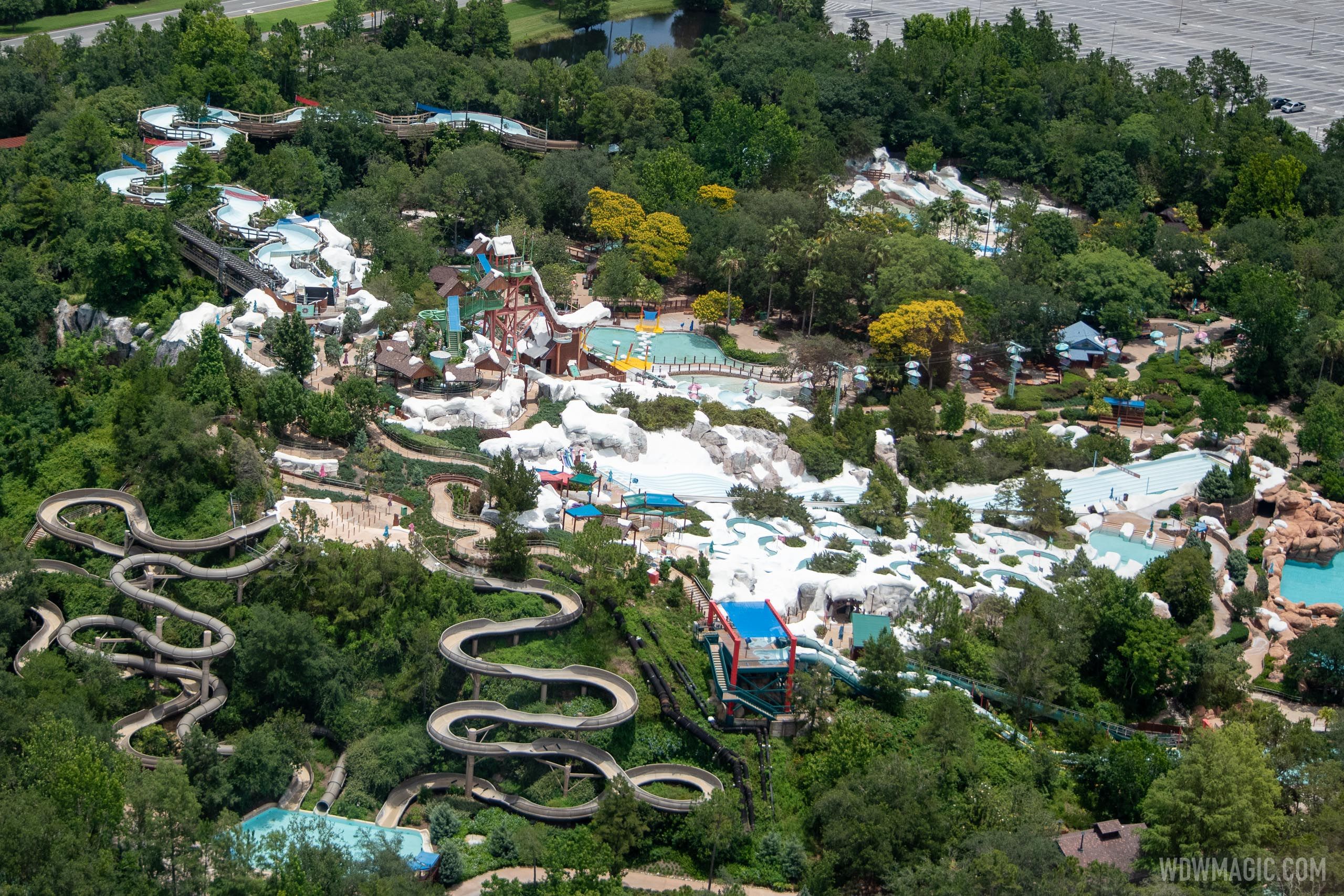 Aerial views of Blizzard Beach and Typhoon Lagoon during COVID-19 closure