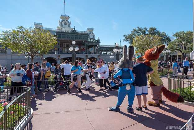 Nick and Judy meet and greet as part of Mickey and Minnie's Surprise Celebration