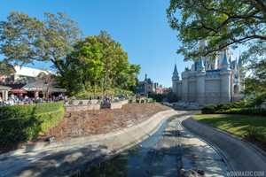 PHOTOS - Waterway around Cinderella Castle drained for walkway widening construction