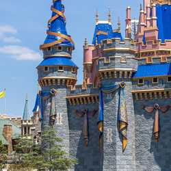 First ribbon installed on the spire of Cinderella Castle - April 7 2021