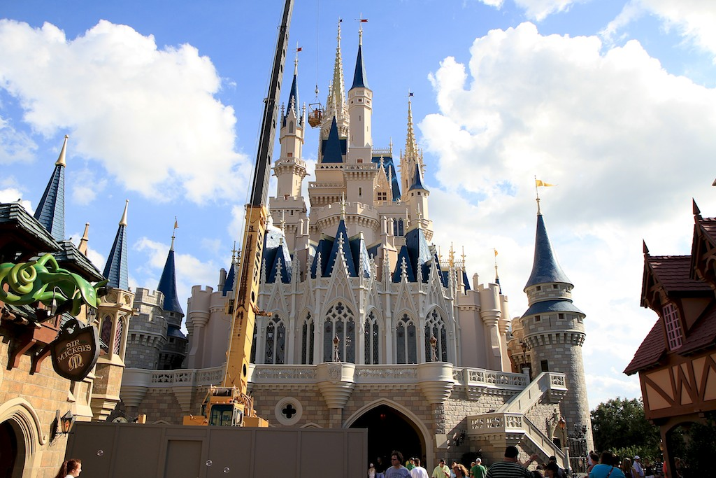 Cinderella's Holiday Wish lights installation - crane onsite