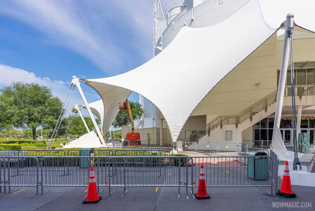 Repainting gets underway on the Cirque du Soleil theater at Disney Springs
