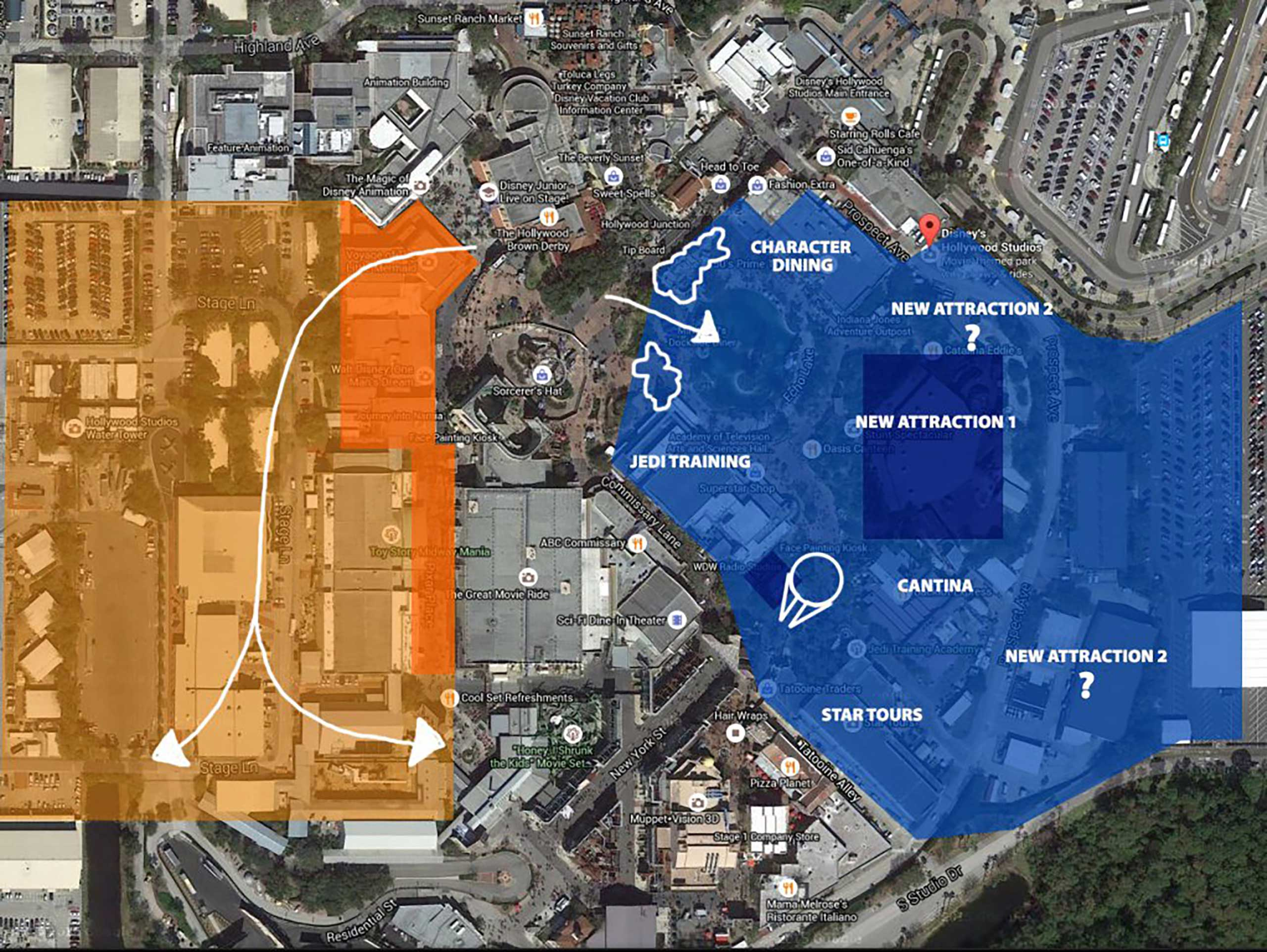 Possible location of Star Wars Land and Toy Story Land at Disney's Hollywood Studios. By Ignohippo.