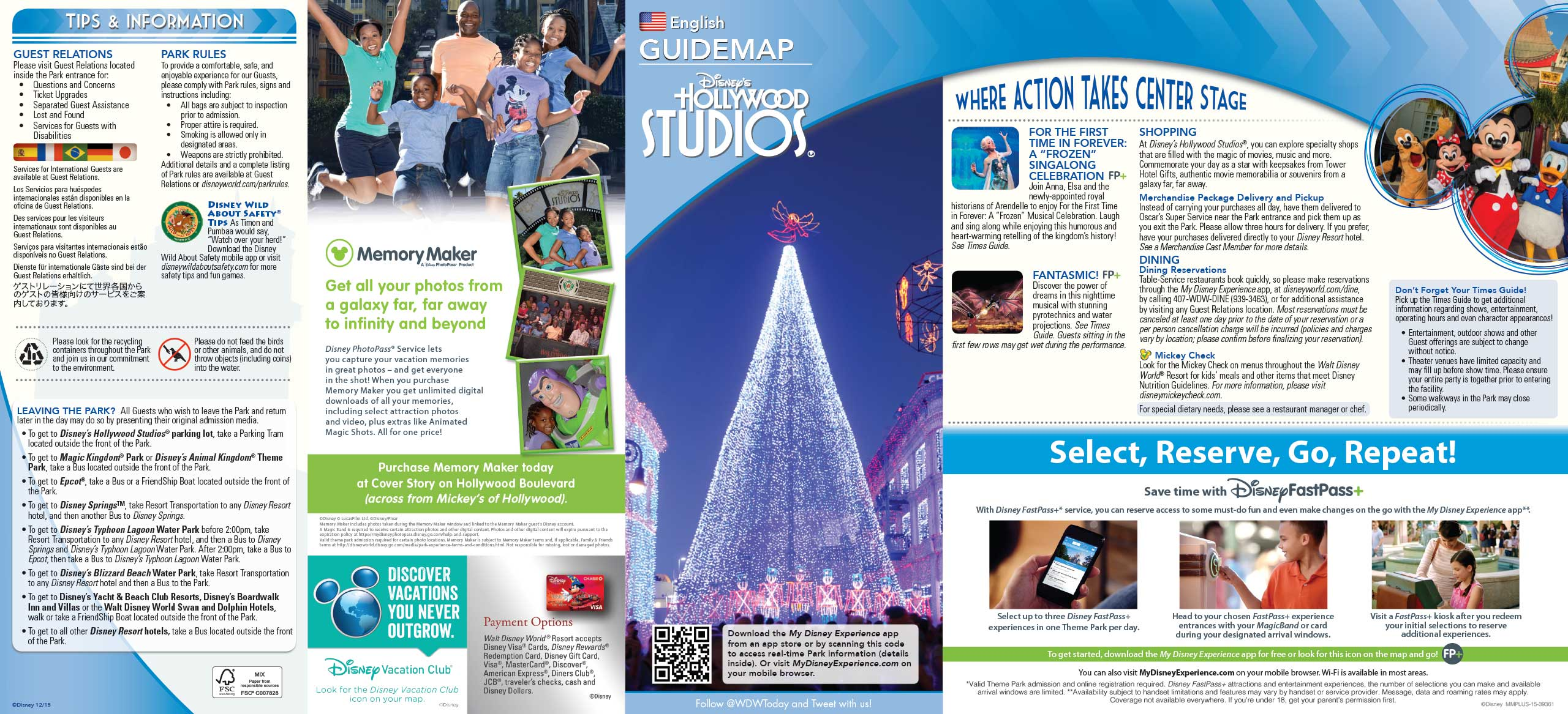 Disney's Hollywood Studios Guide Map December 2015 - Front