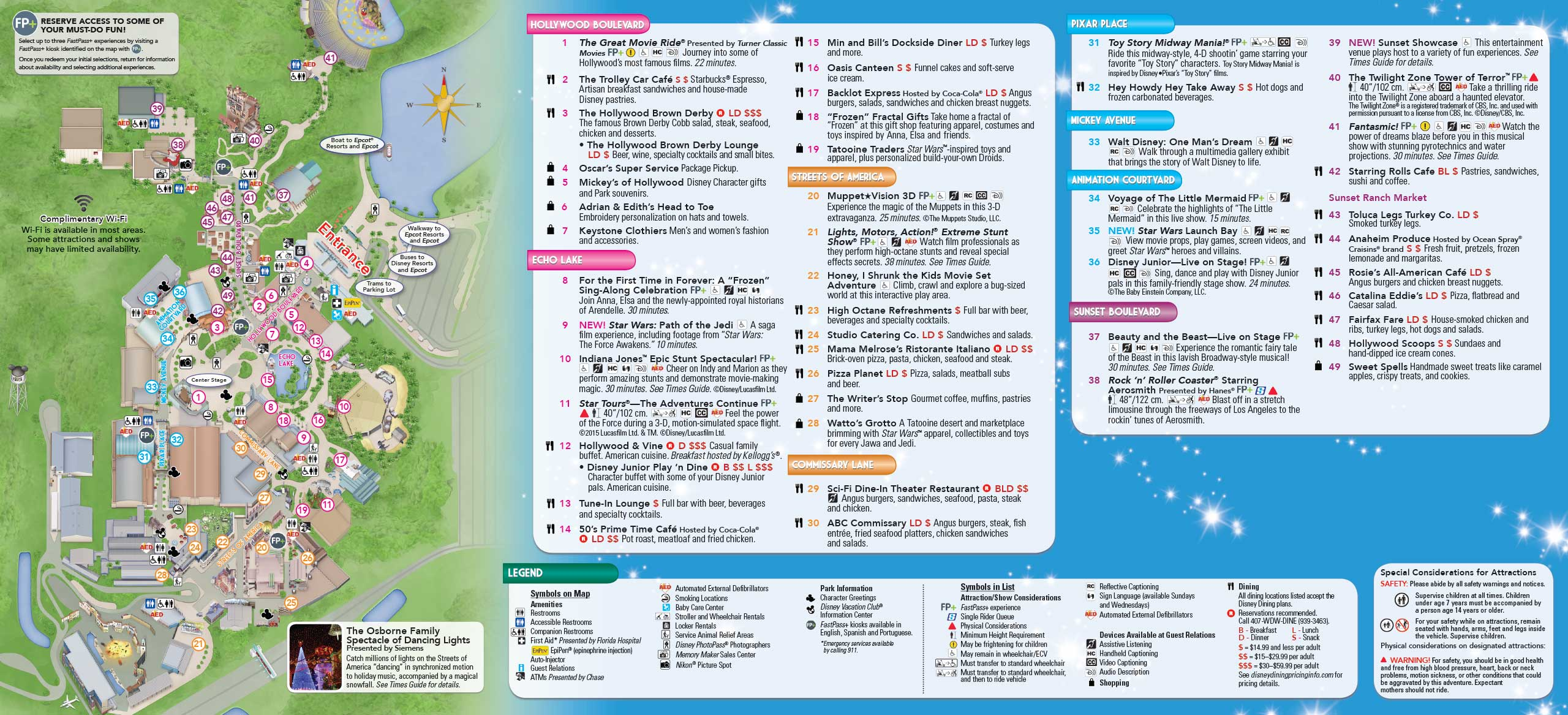 Disney's Hollywood Studios Guide Map December 2015 - Back