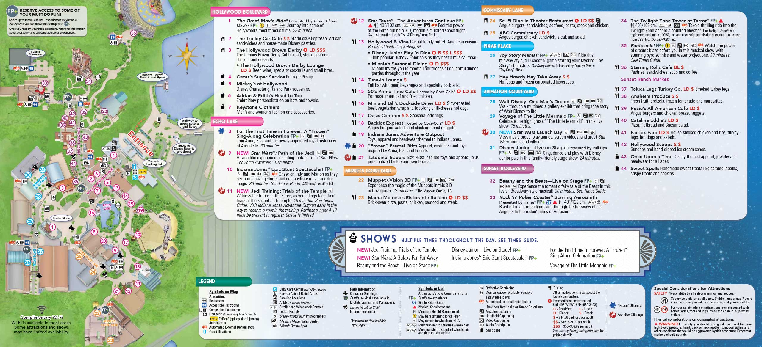 April 2016 Disney\'s Hollywood Studios guide map with backlot area ...