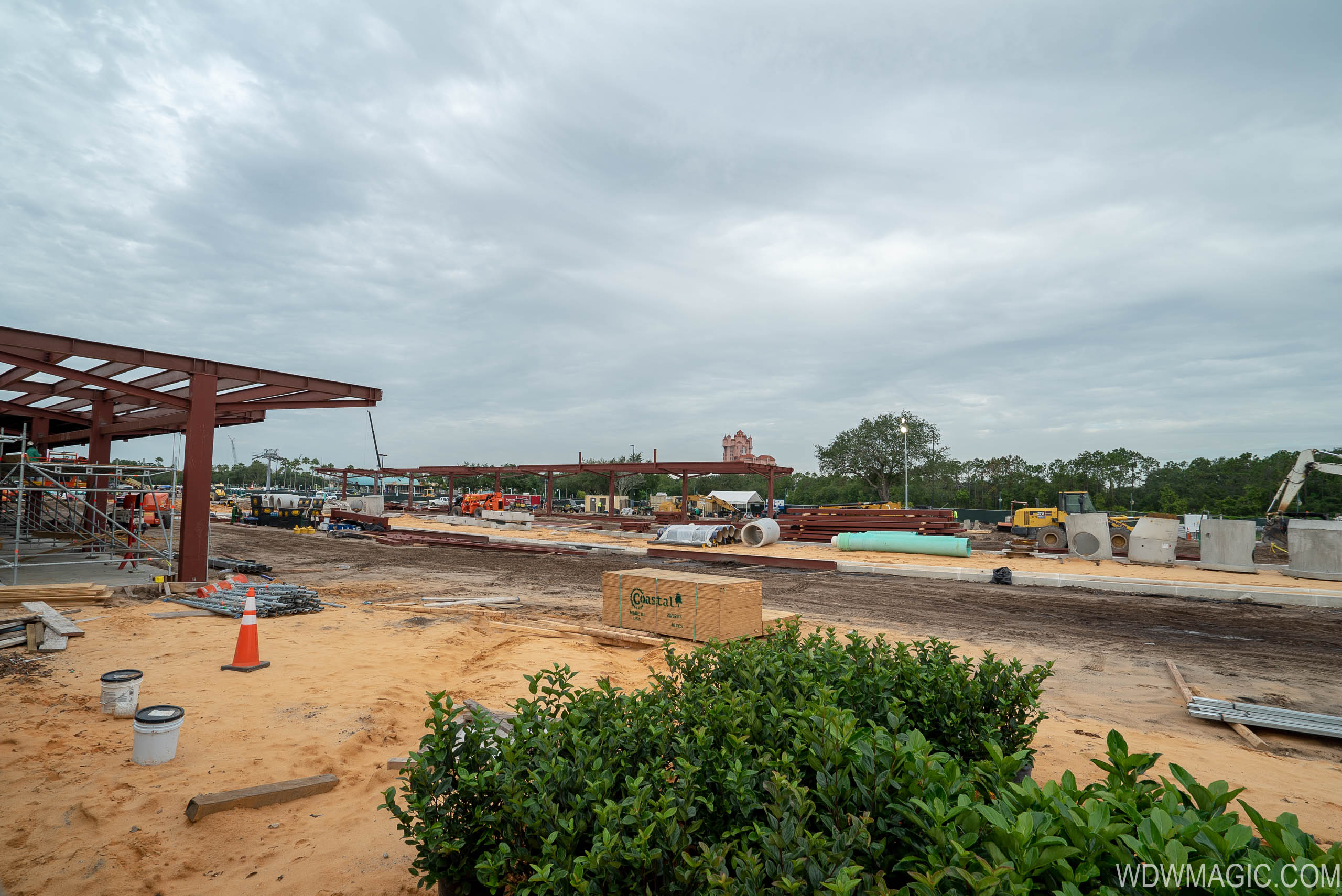 New resort bus stop area under construction at the Studios