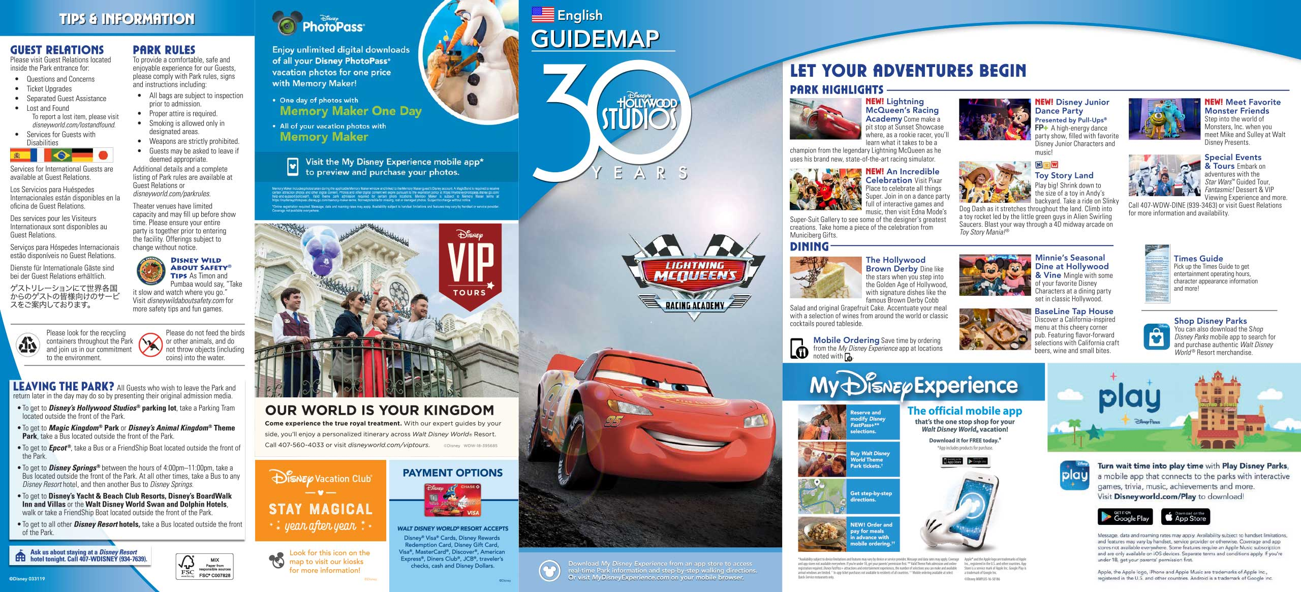 30th Anniversary Guide Map for Disney's Hollywood Studios