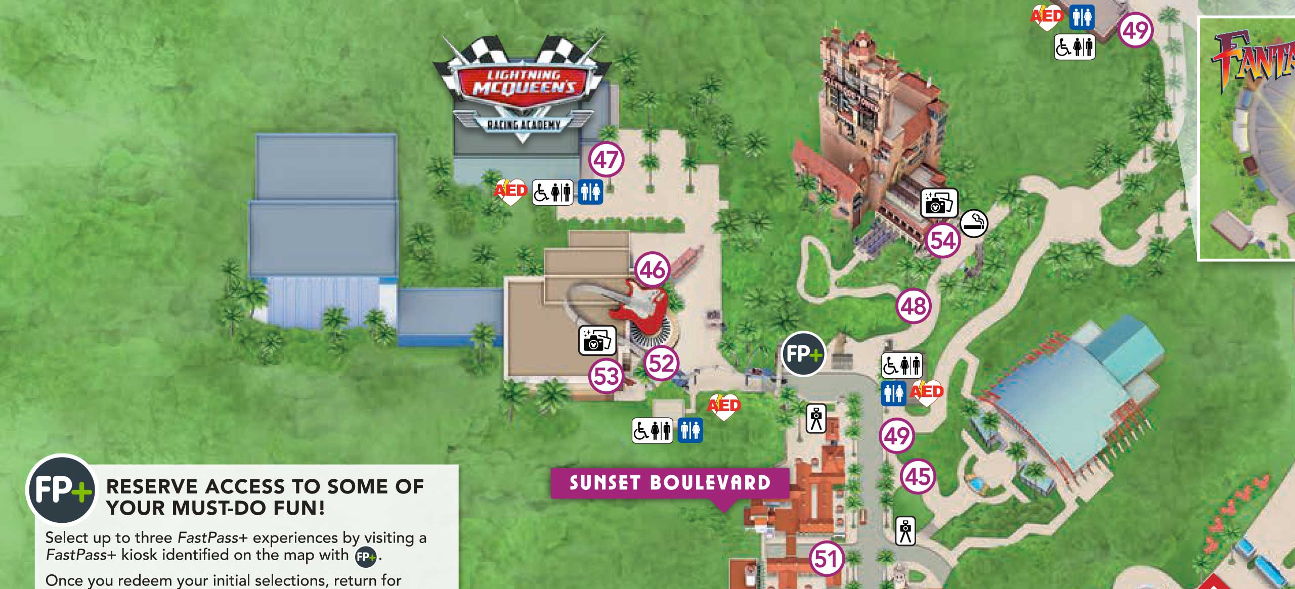 Lightning McQueen's Racing Academy shown on the new guide map