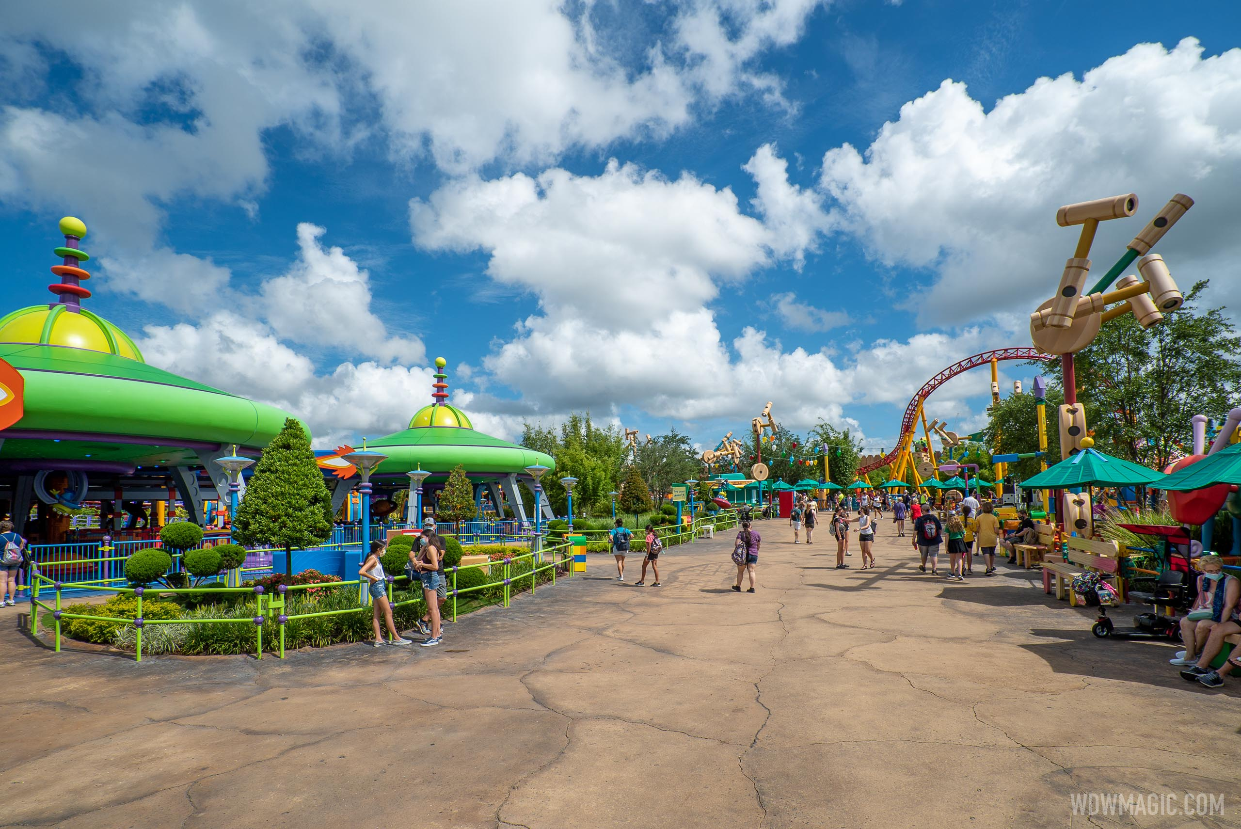 Toy Story Land still feels the most busy with physical distancing
