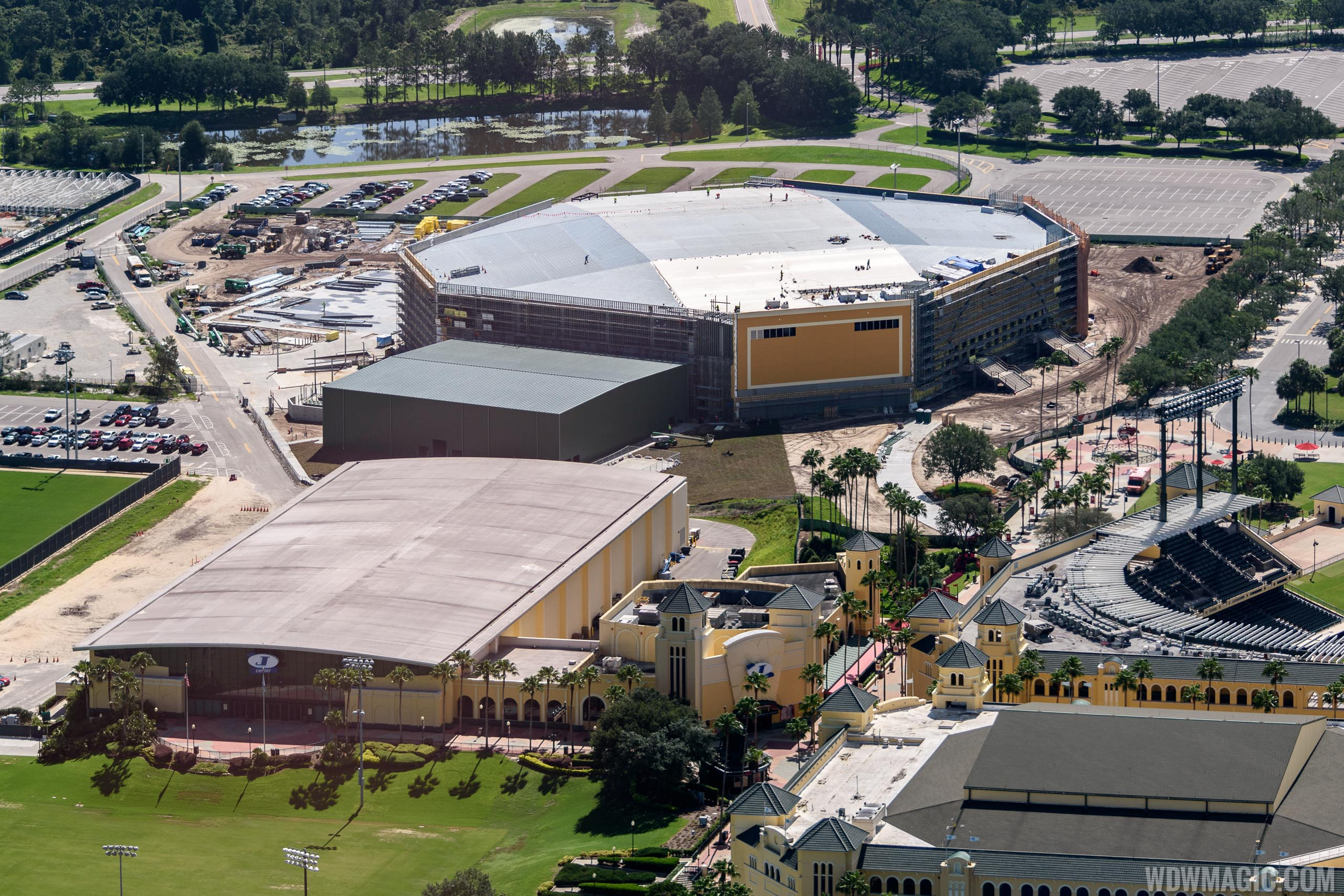 ESPN Wide World of Sports cheer and dance venue construction from the air