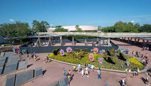 PHOTOS - Demolition walls up around Leave a Legacy at Epcot's main entrance
