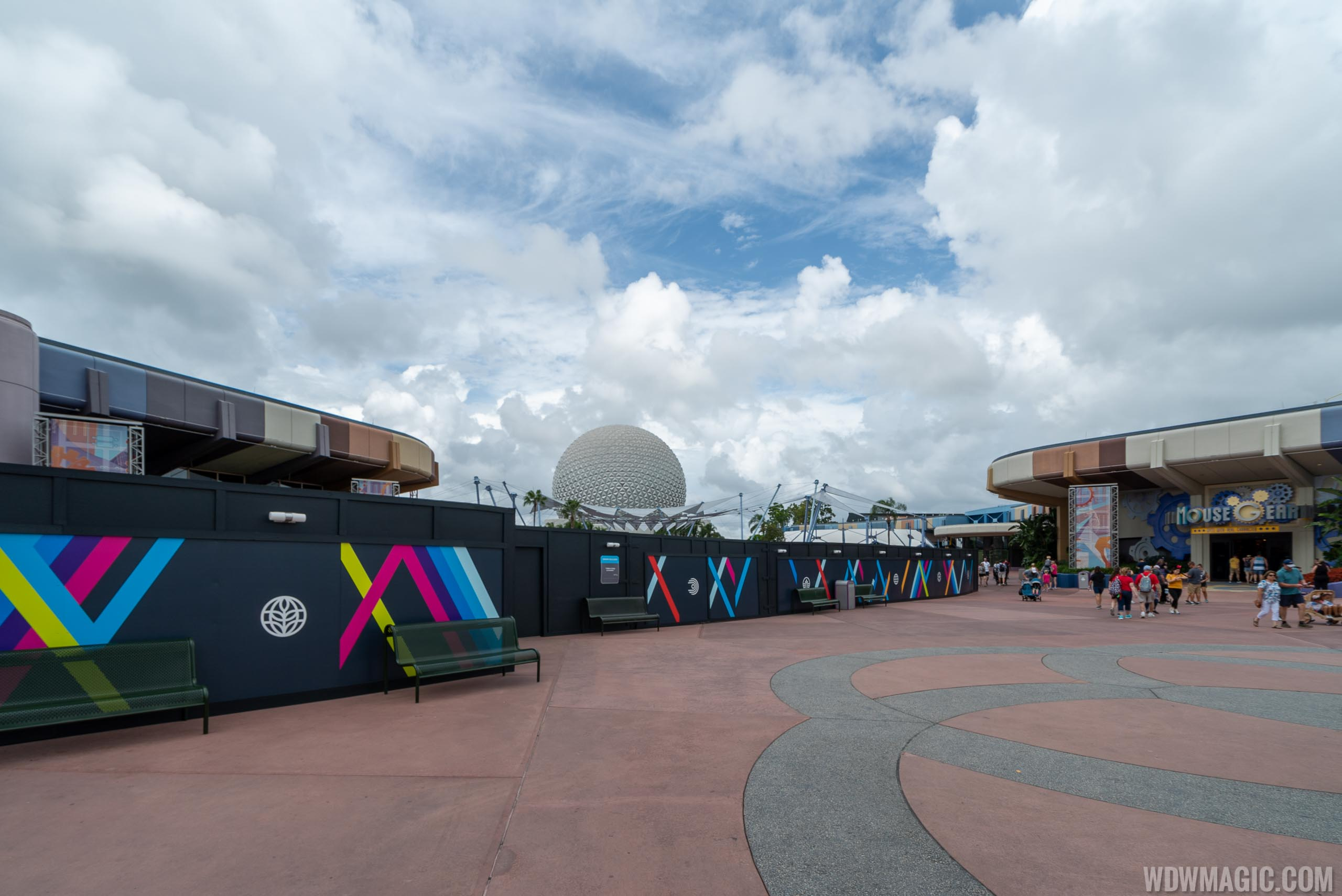 Epcot central area construction October 2019 - Looking toward Fountain of Nations