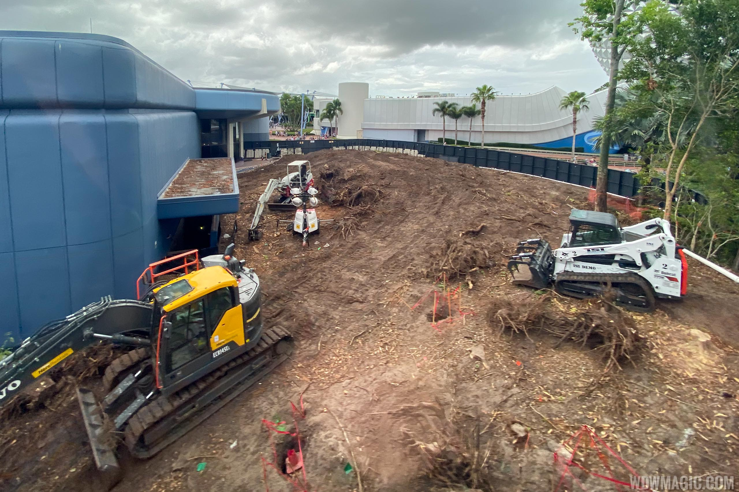 Epcot central area construction October 2019 - Between Guardians of the Galaxy and Innoventions East