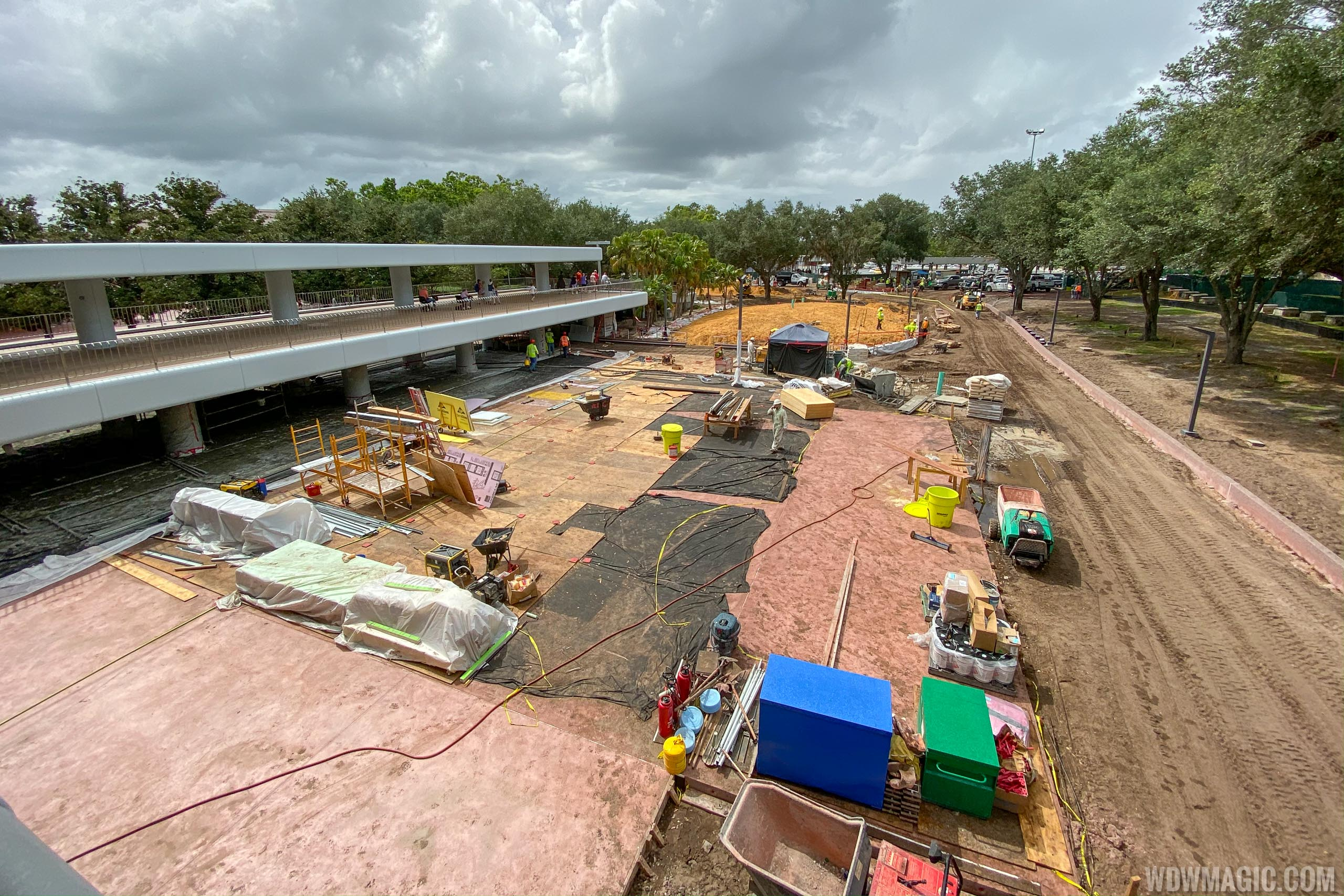 Epcot arrival area October 2019 - New entrance area and bag check