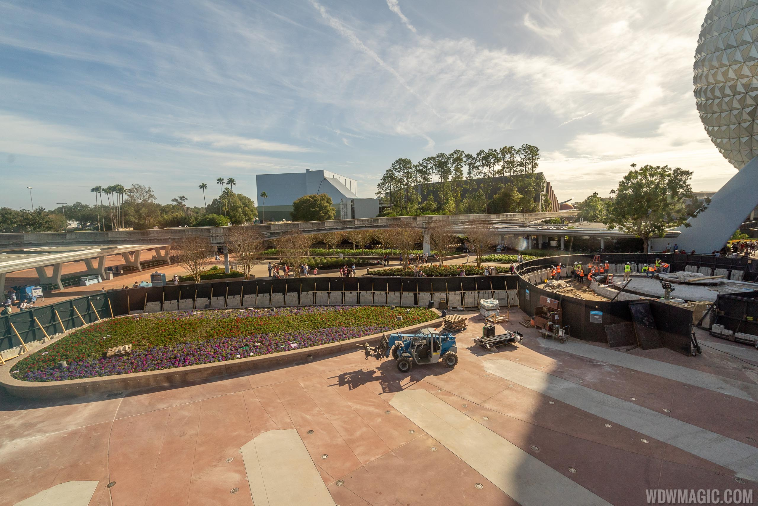 Epcot main entrance water feature testing