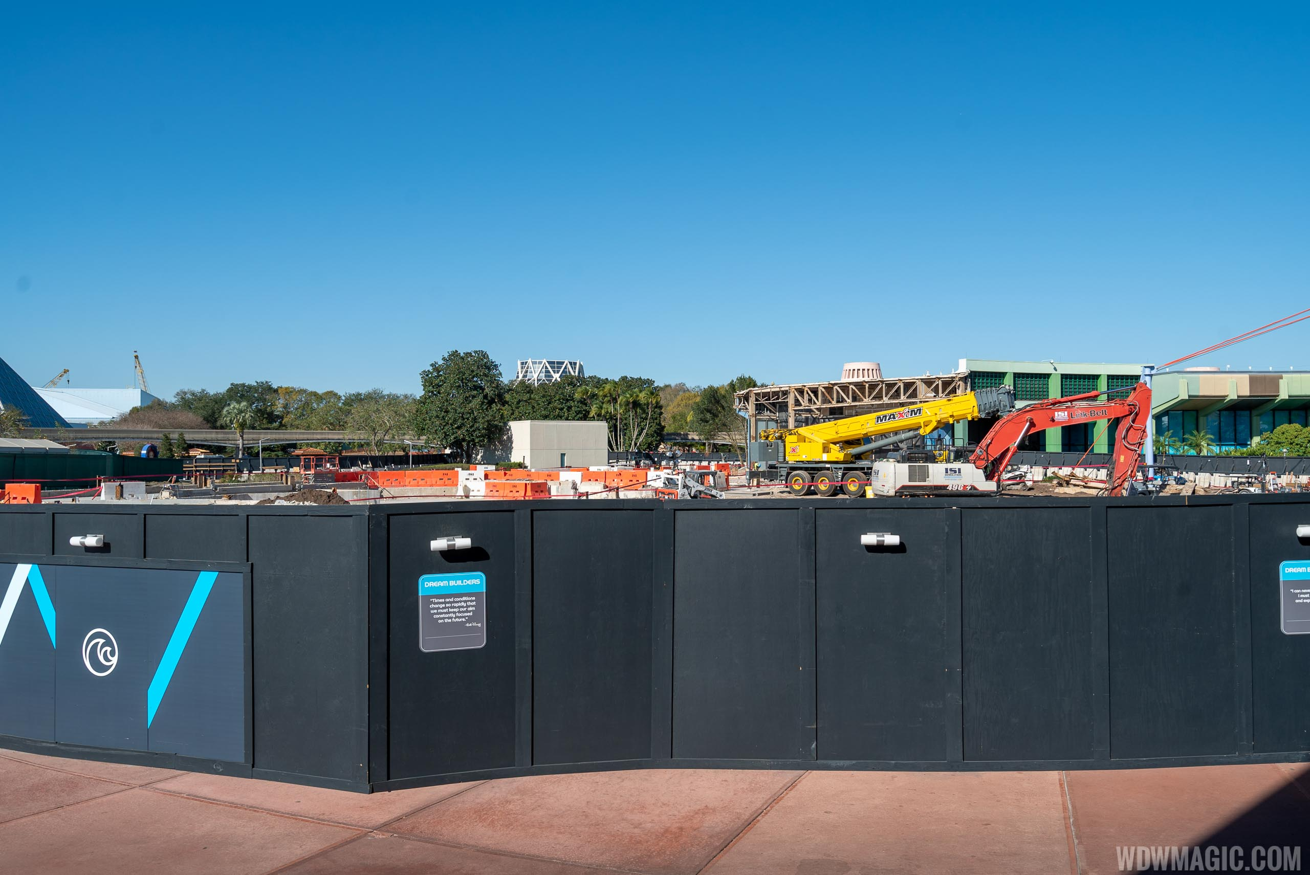 Epcot Future World West Demolition and Construction Walls - January 21 2020