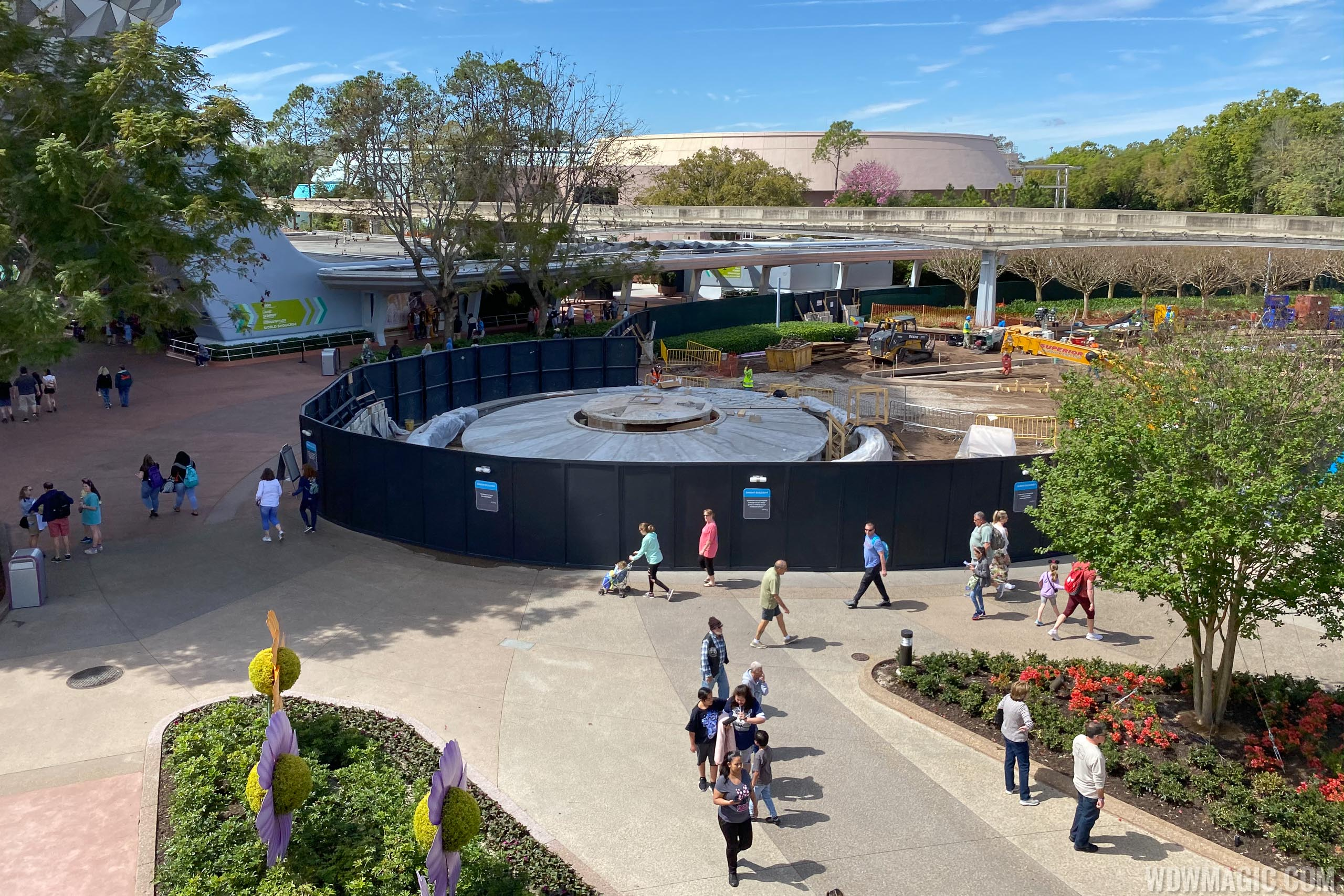 Epcot main entrance area and fountain construction - March 10 2020