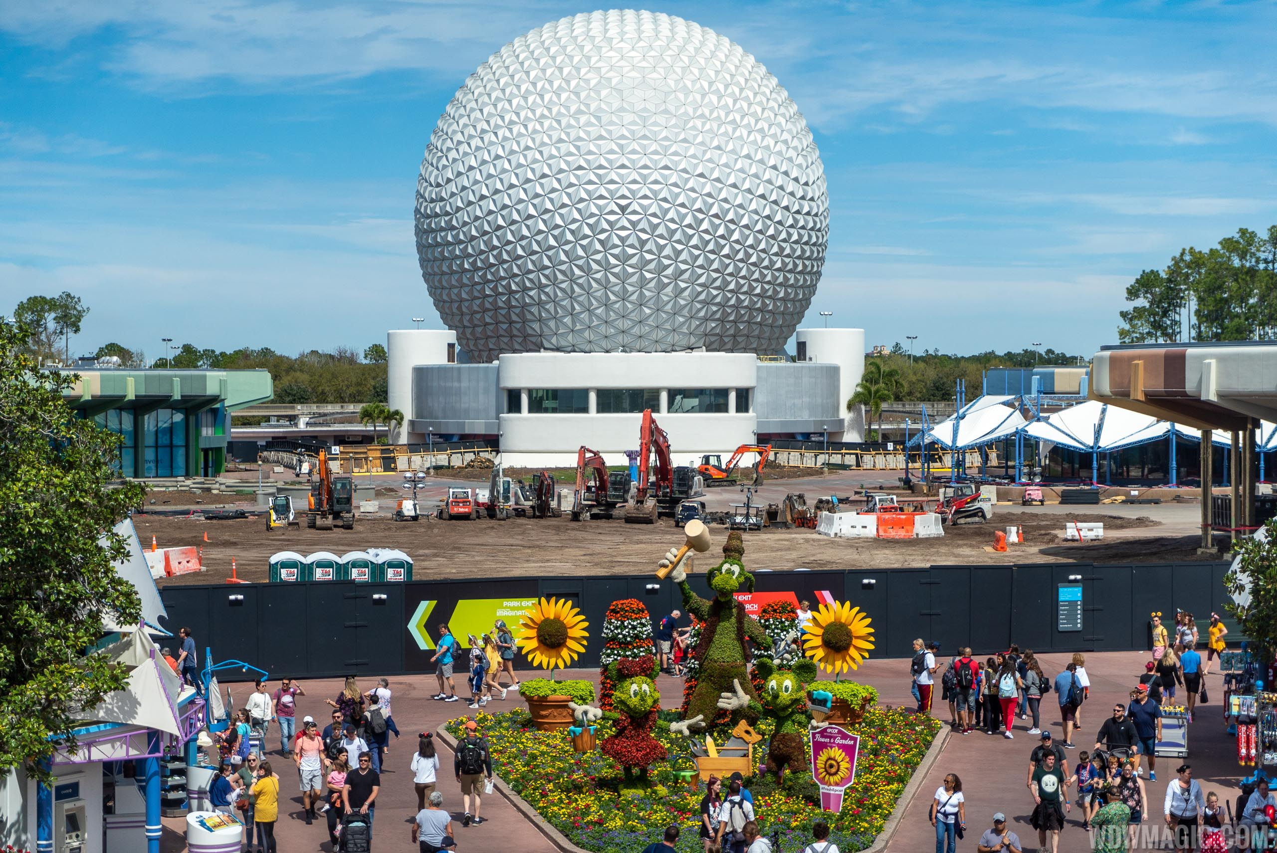 The EPCOT central core is still in a demolition phase