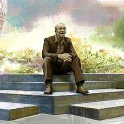Concept art of statue of Walt Disney in new World Celebration neighborhood at EPCOT