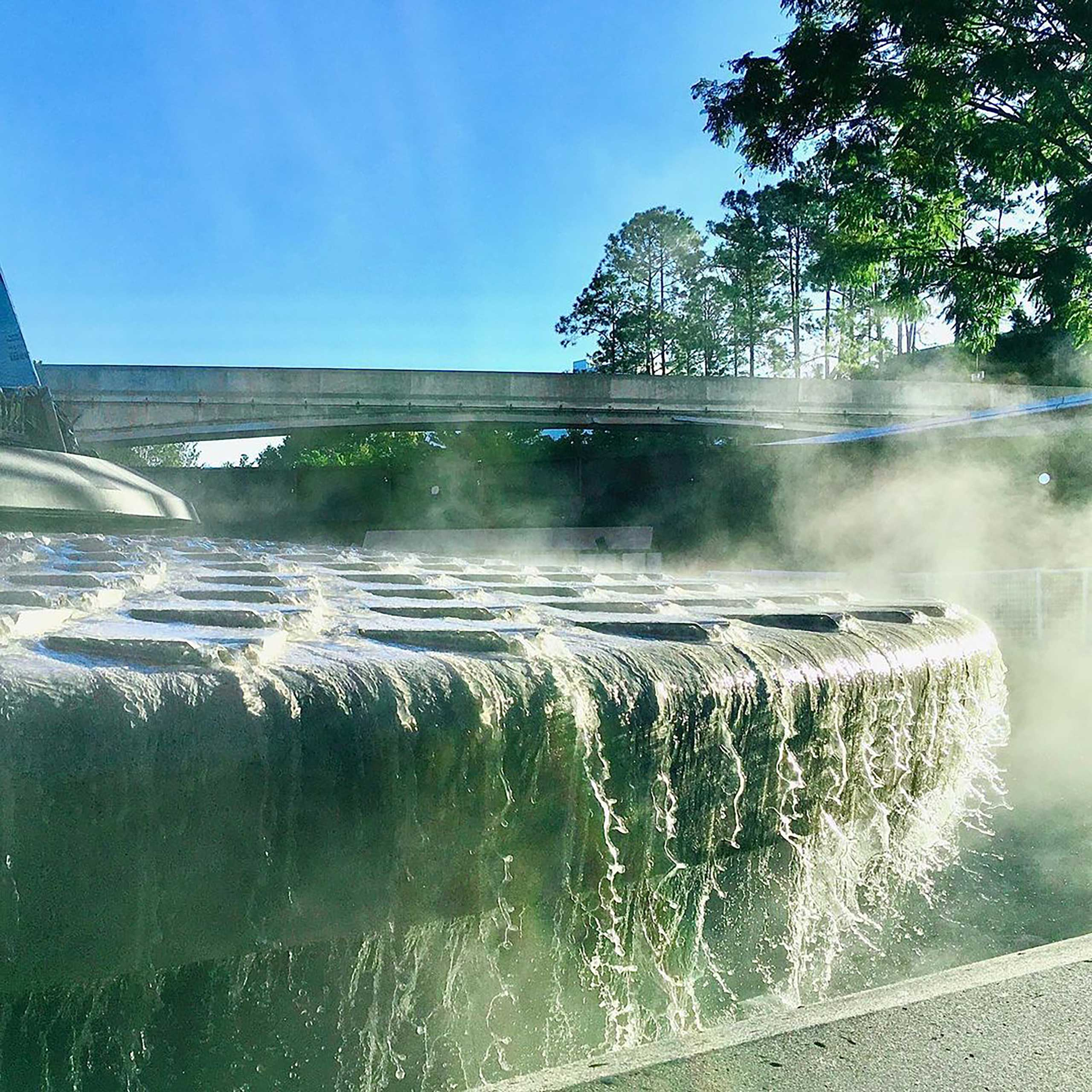 EPCOT main entrance fountain details during construction