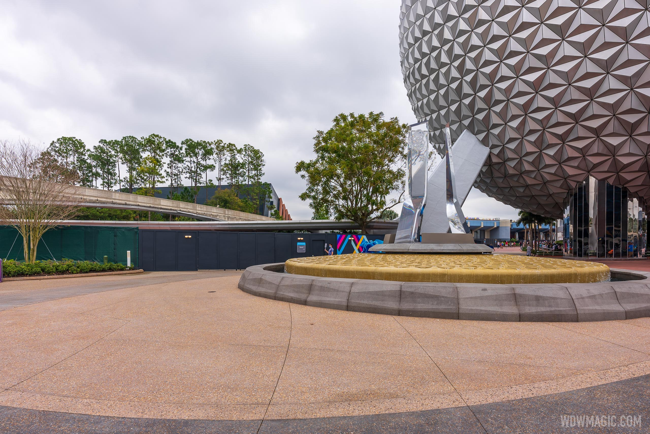 EPCOT main entrance flag install