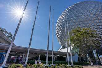 PHOTOS - First 6 flag poles installed on the east side of the new EPCOT main entrance