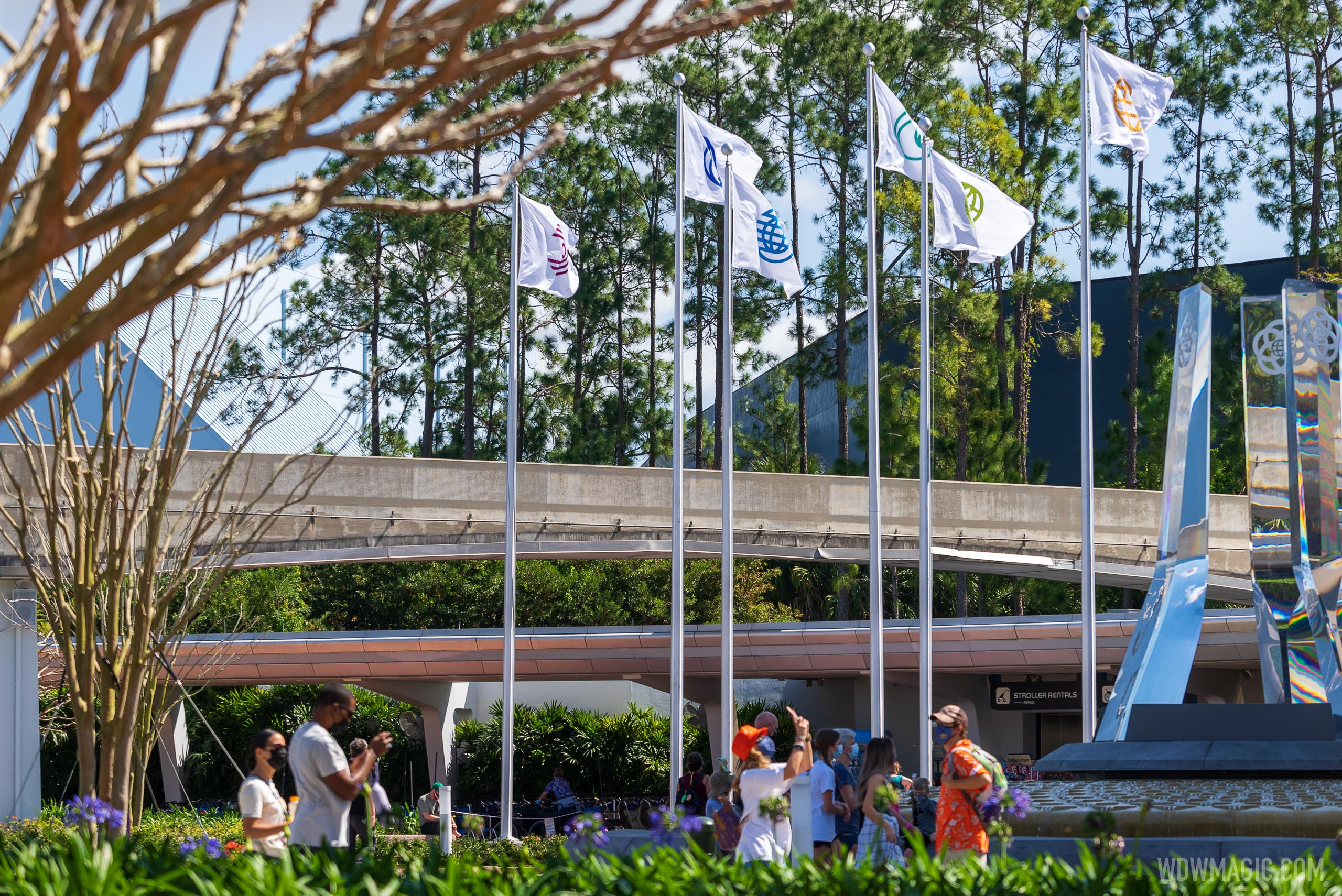 EPCOT main entrance flags