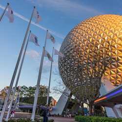 EPCOT new main entrance color outline lights
