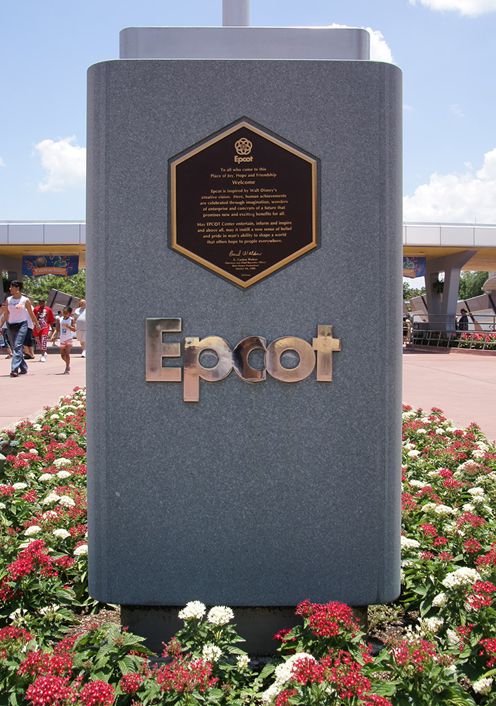 Epcot Opening Dedication plaque