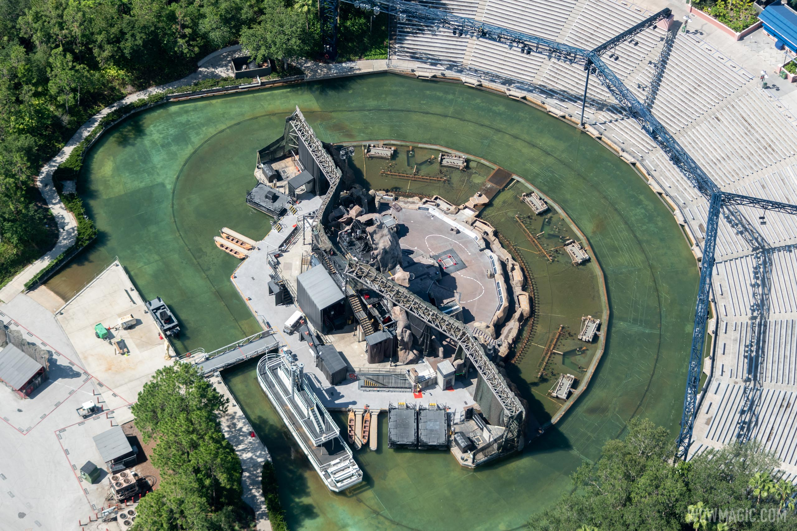 Aerial view of Fantasmic at the Hollywood Hills Amphitheater