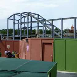 Snow White Mine Train, Dumbo and Castle Wall construction