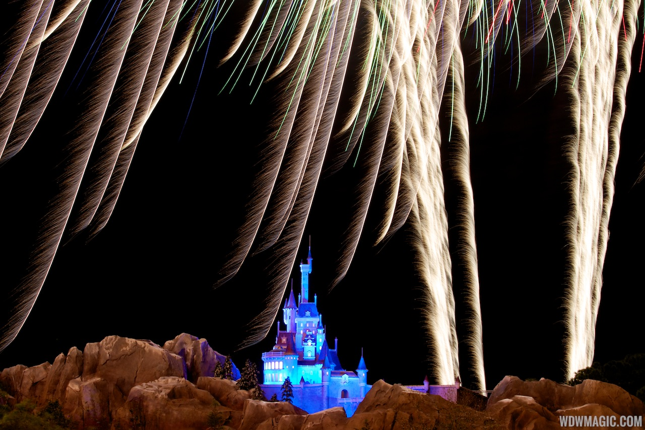 Fantasyland castle walls after dark