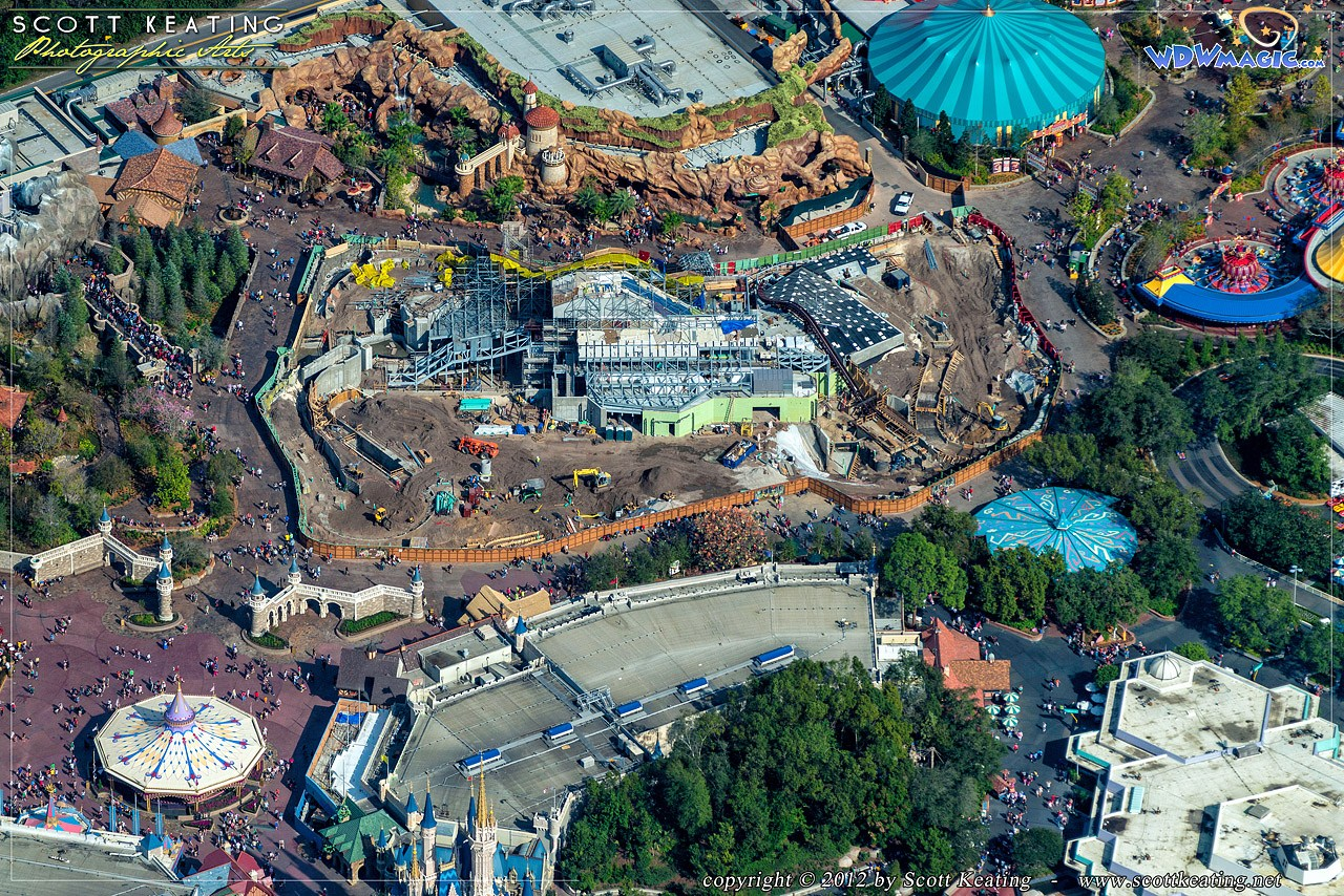 Seven Dwarfs Mine Train coaster aerial view