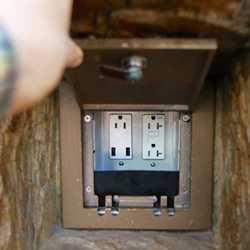 USB charging in Fantasyland's Rapunzel restroom area