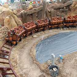 Seven Dwarfs Mine Train completes first drop from station under gravity