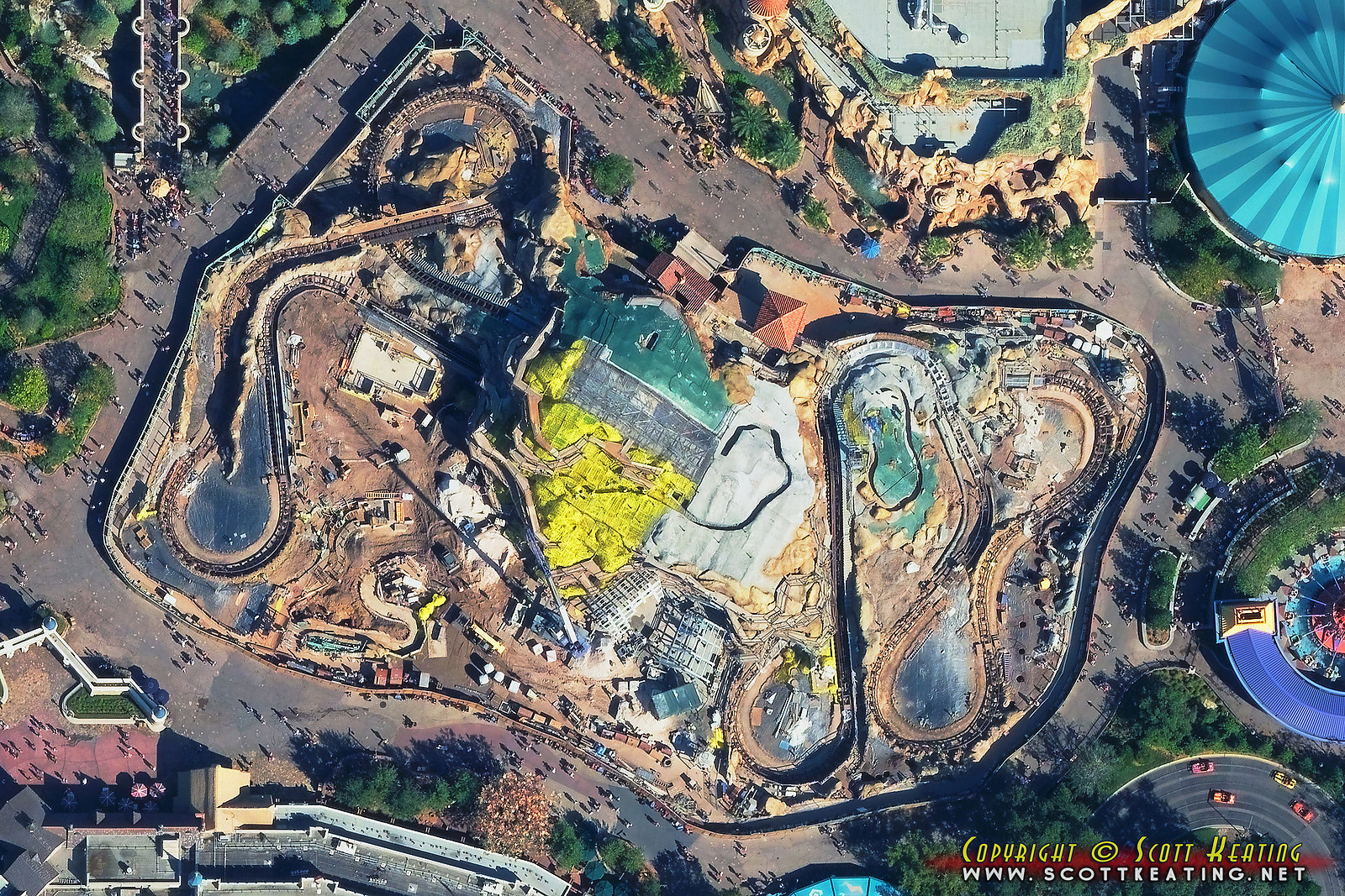 Aerial view of the Seven Dwarfs Mine Train coaster construction October 2013