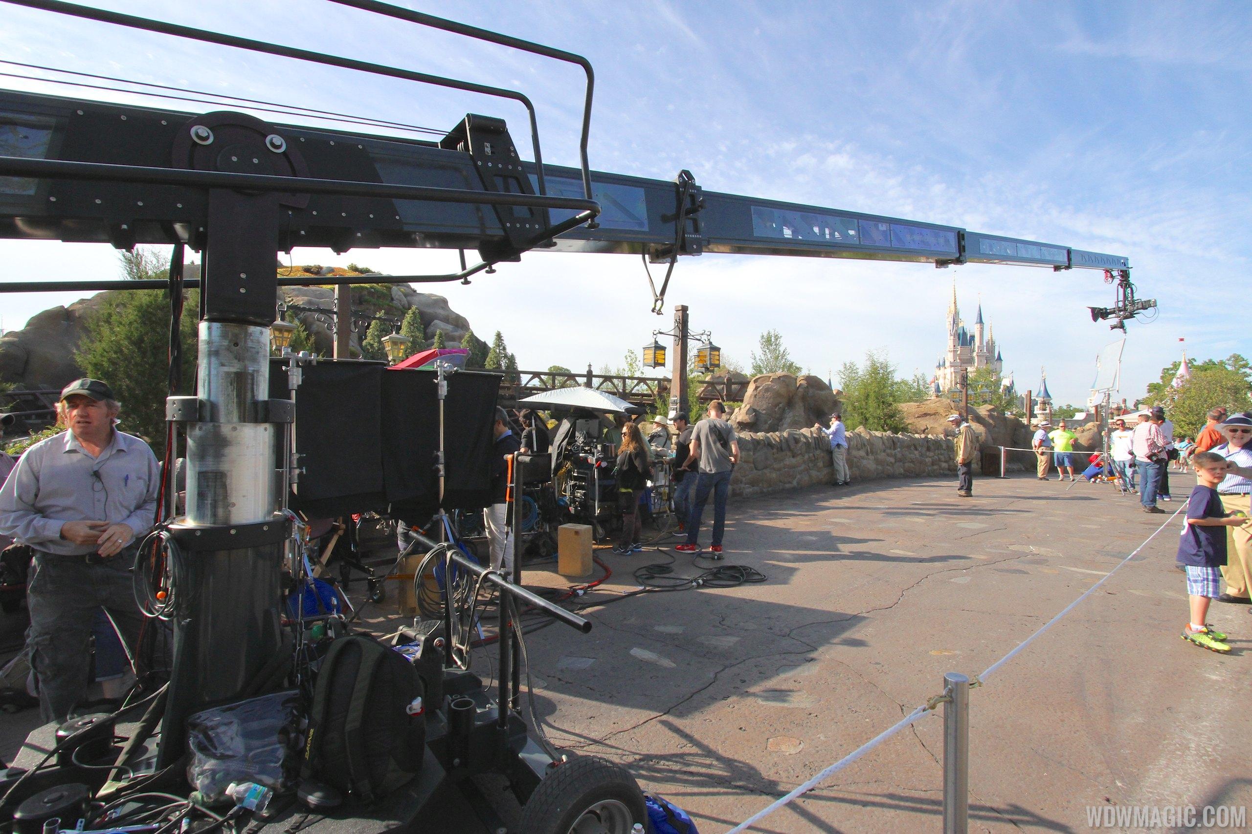 Film crews at the Seven Dwarfs Mine Train Coaster