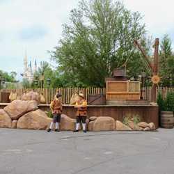 Seven Dwarfs Mine Train dedication ceremony stage setup