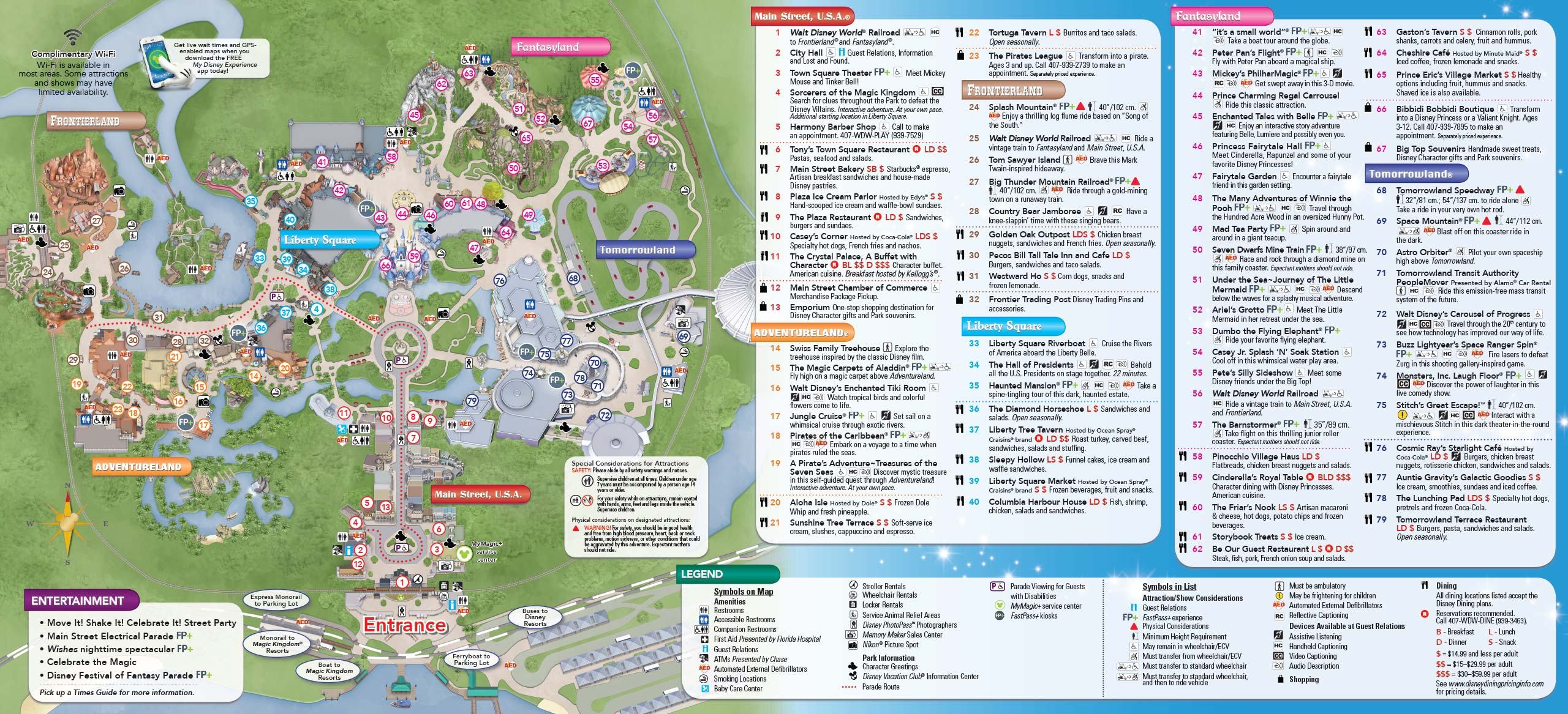 New Magic Kingdom guide map featuring Seven Dwarfs Mine Train - back