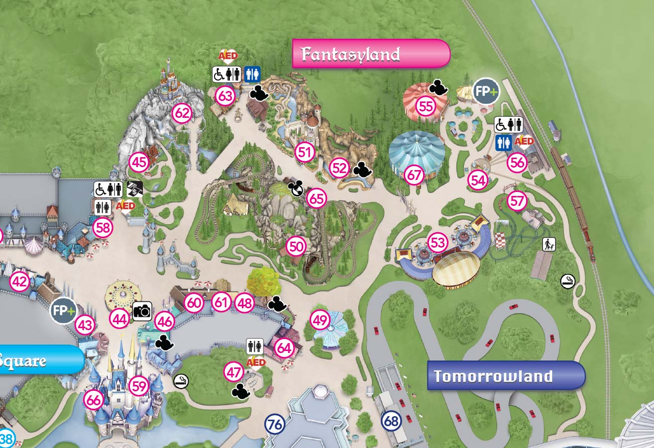 New Magic Kingdom guide map featuring Seven Dwarfs Mine Train