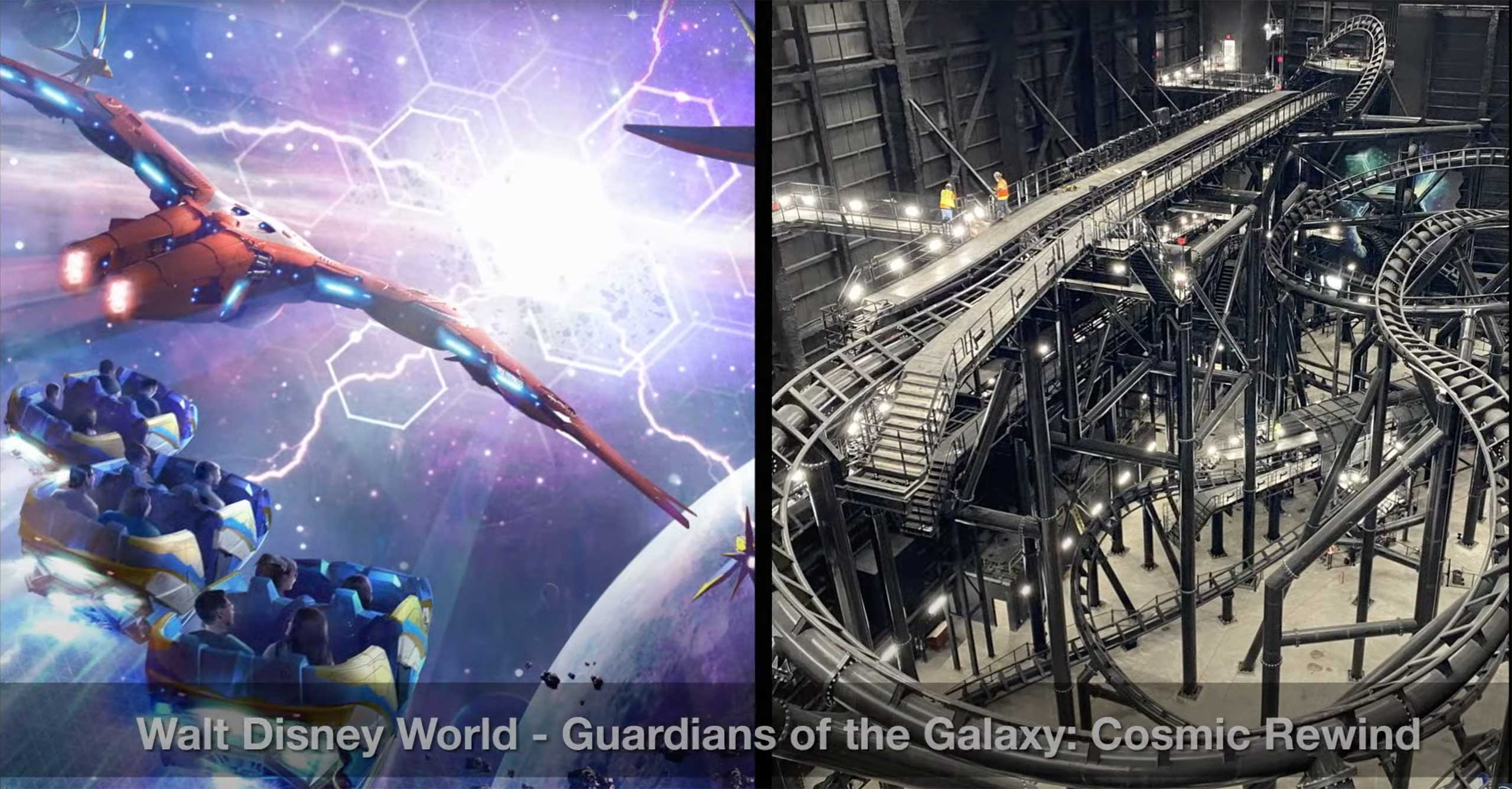 Inside Guardians of the Galaxy Cosmic Rewind show building