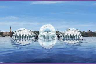 PHOTO - EPCOT's Harmonious show platform barges to be used as daytime fountains in World Showcase Lagoon