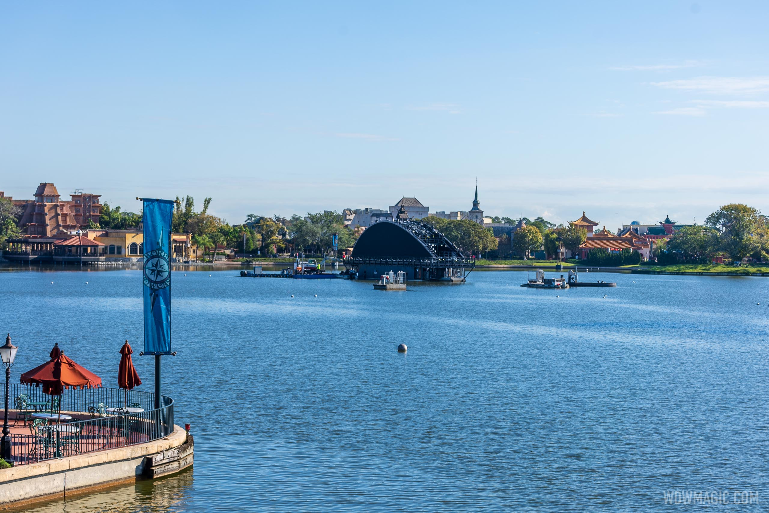 First harmonious show platform barge in World Showcase Lagoon