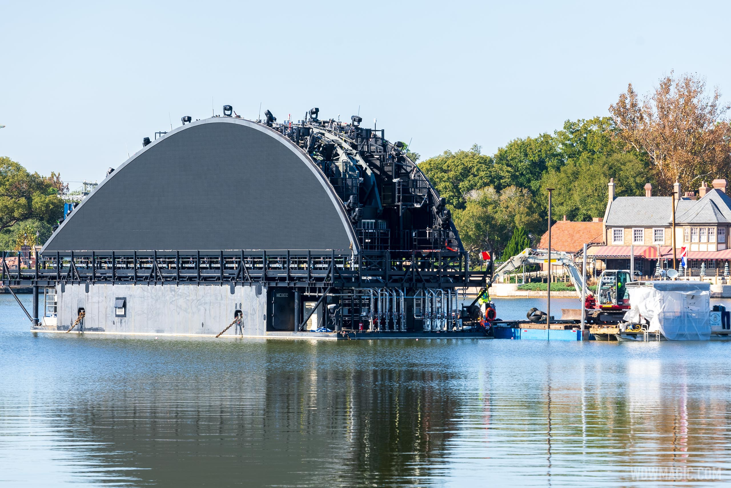First harmonious show platform barge in World Showcase Lagoon